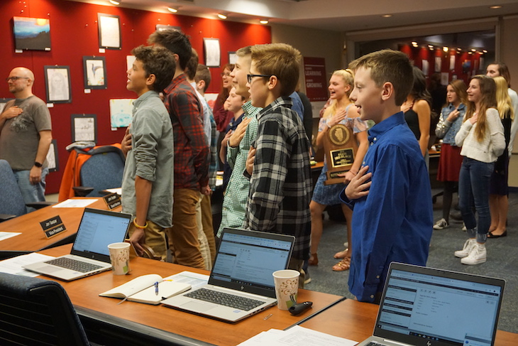 <p>RMS cross country team members led the Pledge of Allegiance at the beginning of the Board Meeting.</p>