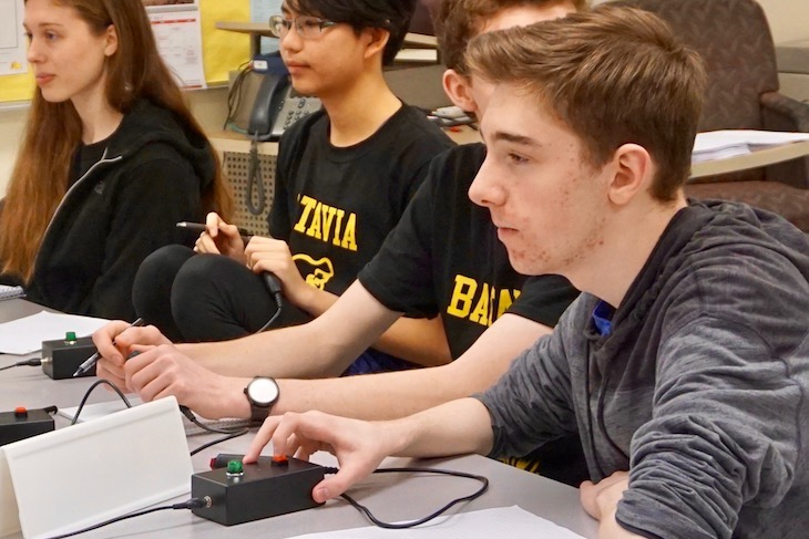 <p>Similar to trivia game shows, students in Scholastic Bowl competitions buzz in when ready to answer a question. </p>